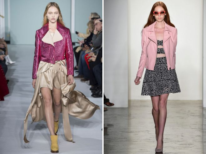 образы с розовой кожаной курткой и платьем