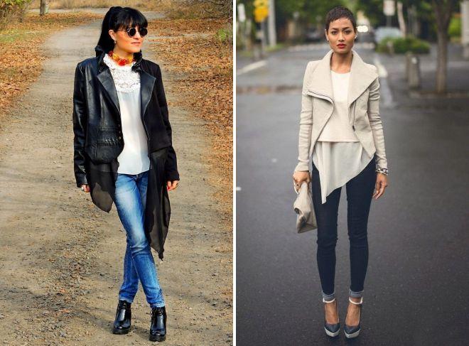 образ с кожаной курткой и джинсами