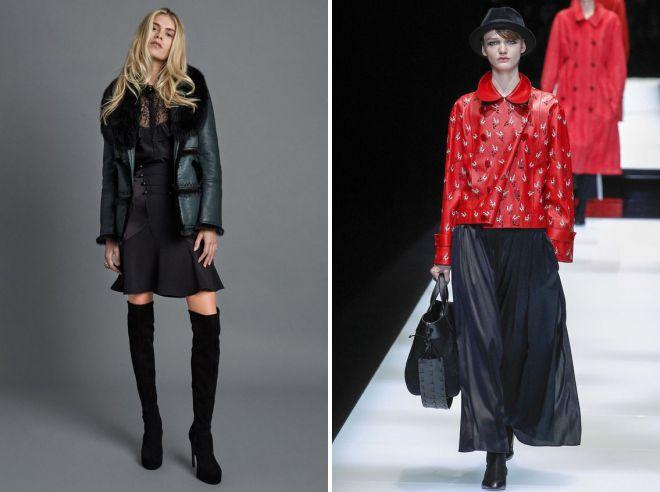 модные образы с кожаной курткой