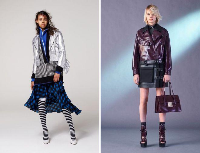 молодежные образы с кожаной курткой и юбкой