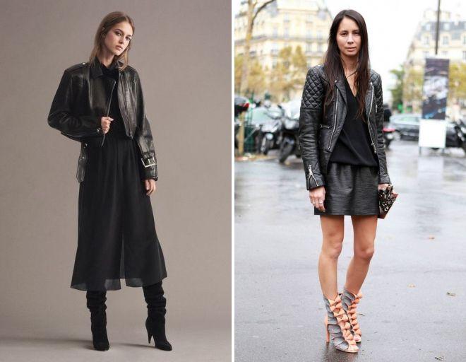 образы с кожаной курткой и юбкой