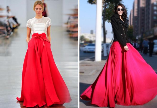 красная пышая юбка макси