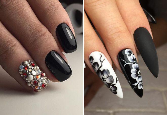 черный дизайн ногтей лето 2018