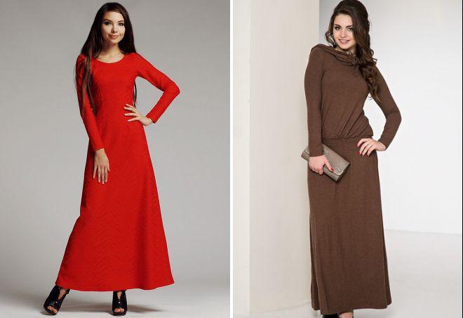 теплые длинные повседневные платья