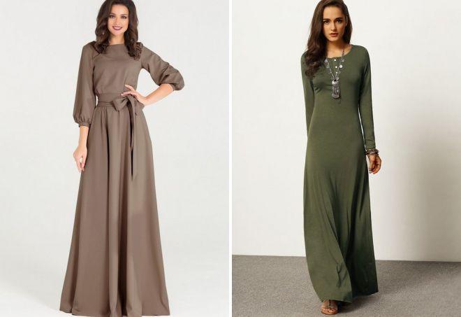 повседневные платья с длинным рукавом