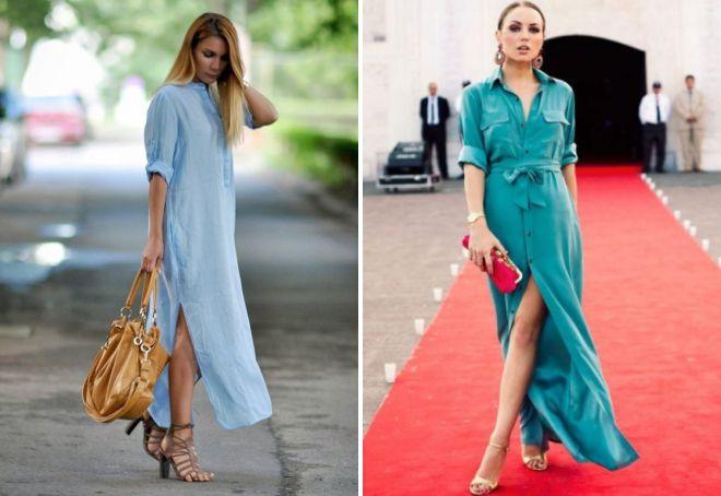 повседневное длинное платье рубашка