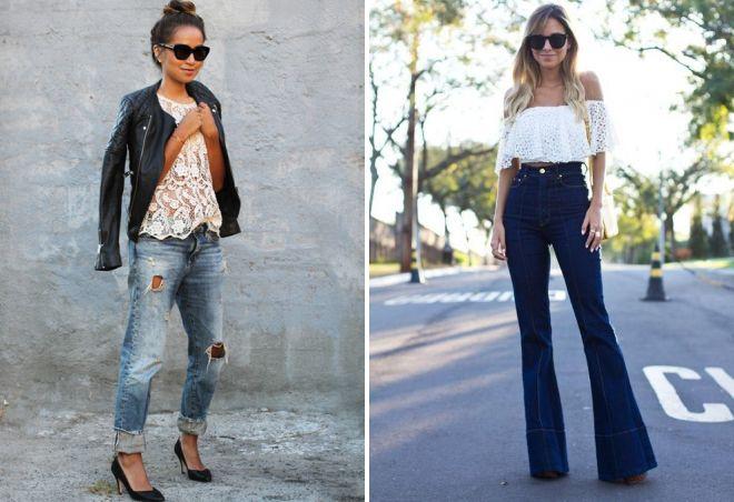 кружевной топ с джинсами