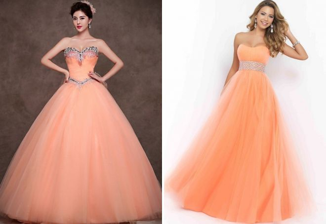персиковое вечернее платье