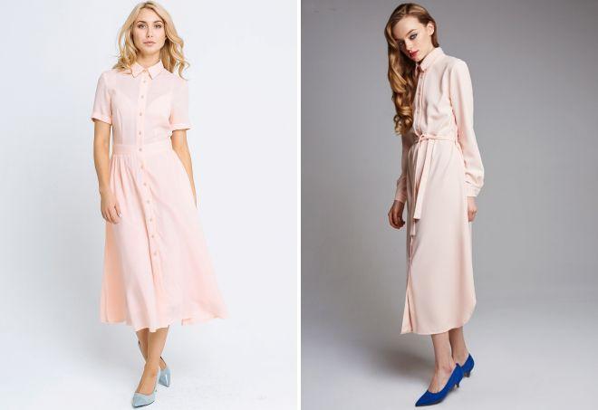 длинное персиковое платье