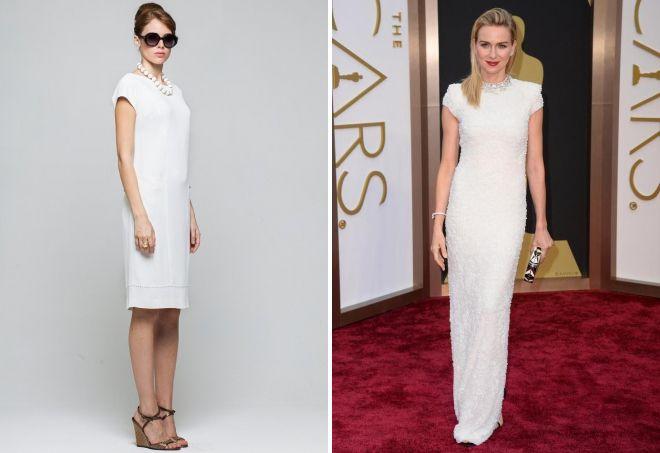 белое прямое платье