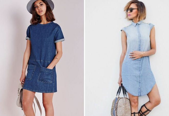 прямое джинсовое платье