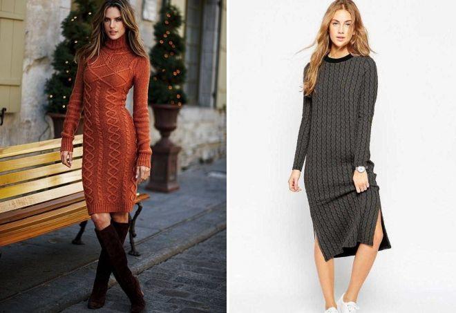 вязаное прямое платье миди