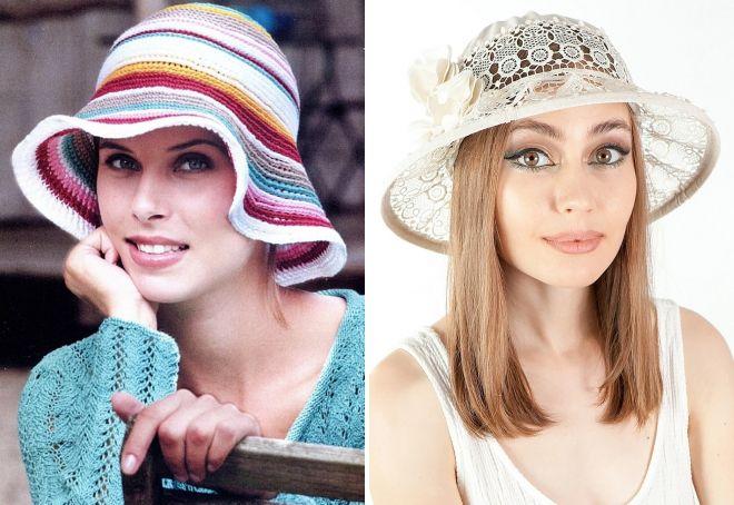вязаные шляпы на лето