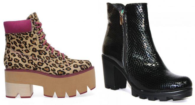 ботинки на каблуке с тракторной подошвой