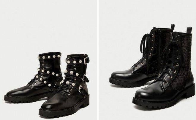 высокие черные модные ботинки на тракторной подошве