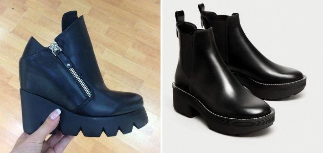 кожаные ботинки тракторы
