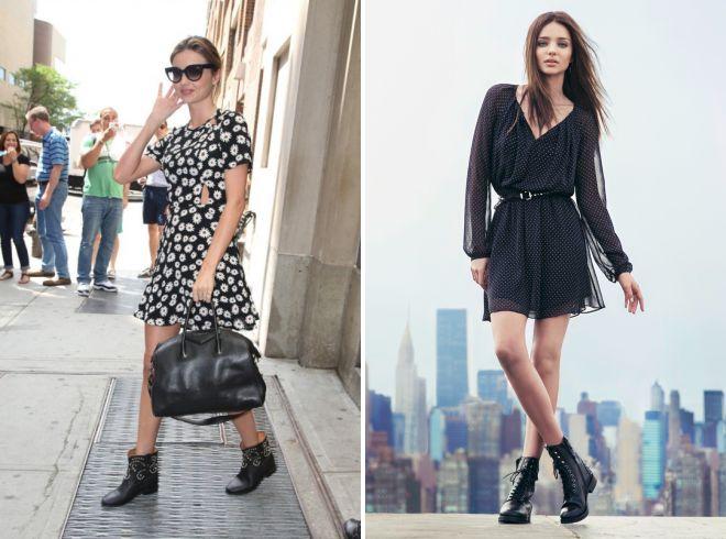 легкие платья с женскими осенними ботинками тракторами