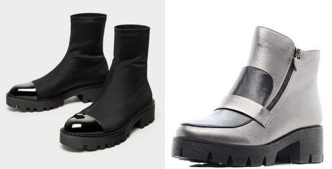лакированные ботинки на тракторной подошве