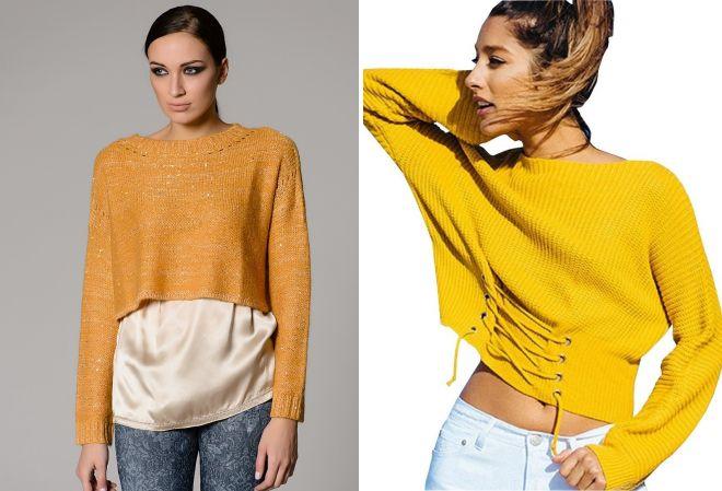 свитер желтого цвета