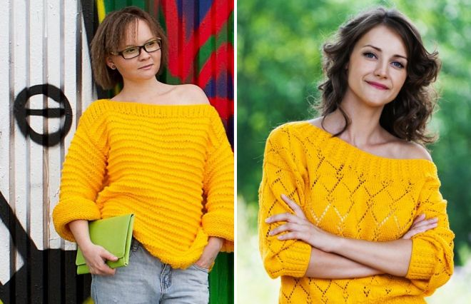 желтый свитер для девушки