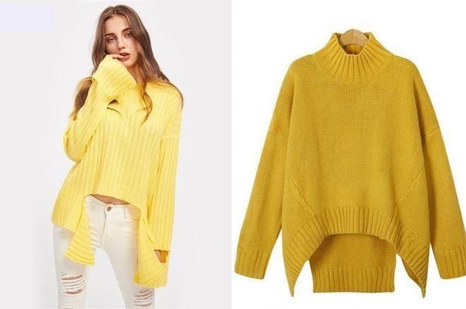 желтый свитер оверсайз