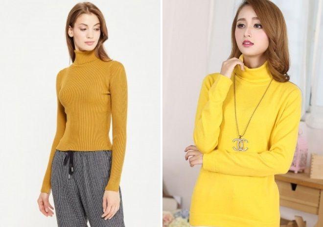 трикотажный желтый свитер