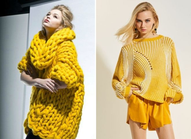 желтый свитер крупной вязки