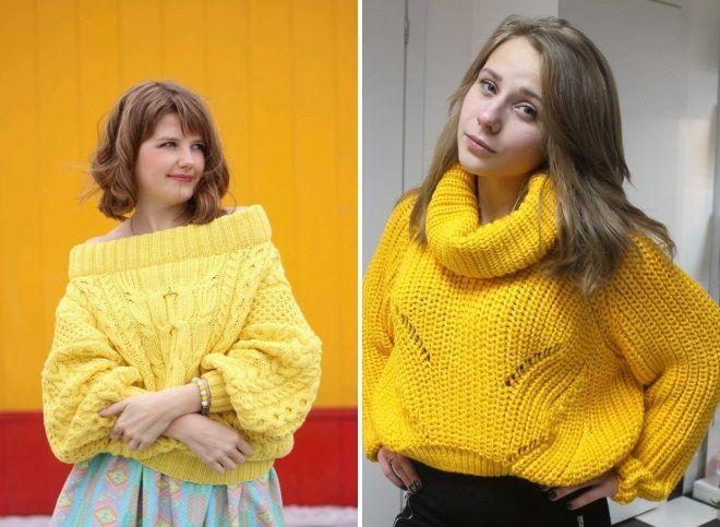 широкий желтый свитер