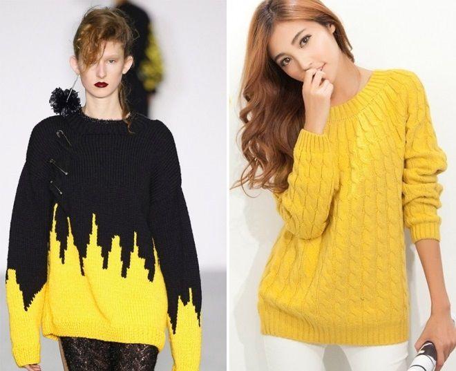 модный желтый свитер