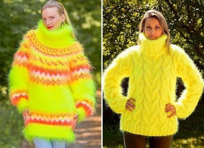 желтый свитер крупной вязки неон