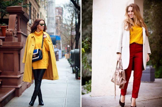 желтый свитер образы