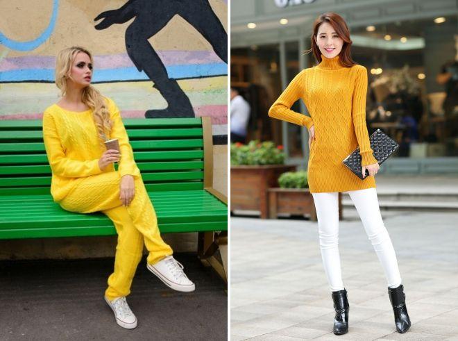 желтый свитер образы 2017