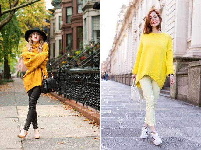 с чем носить желтый свитер оверсайз