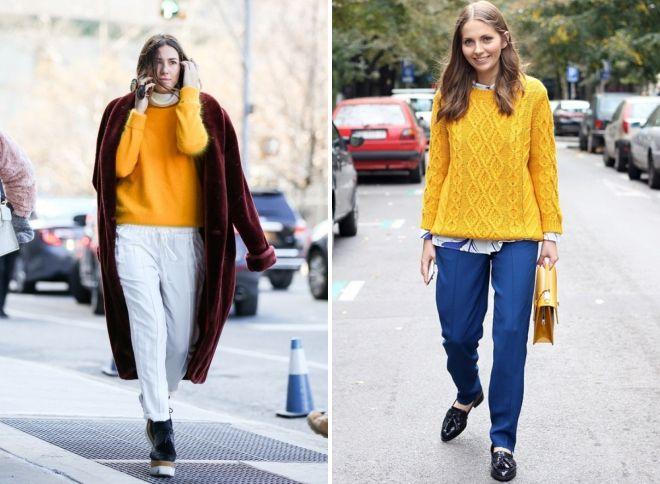 желтый свитер образы 2017 год