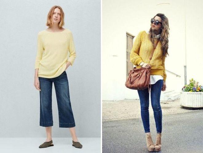 желтый свитер и джинсы