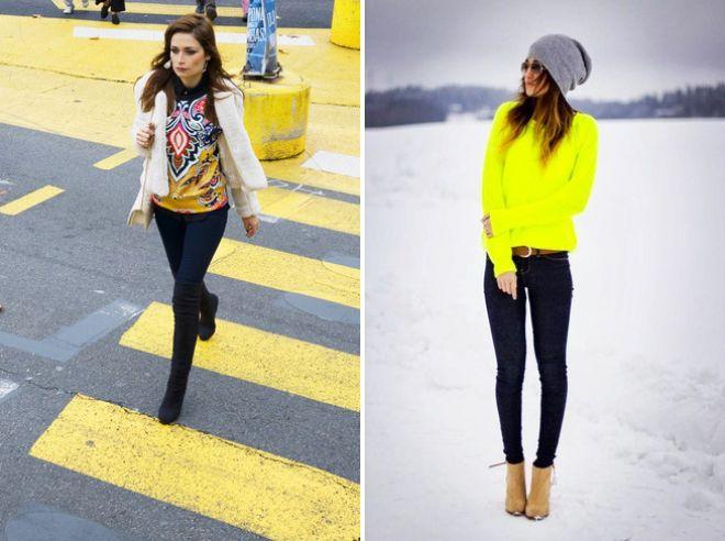 желтый свитер и синие джинсы
