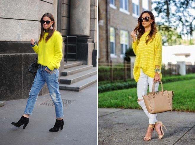 желтый свитер и джинсы 2017