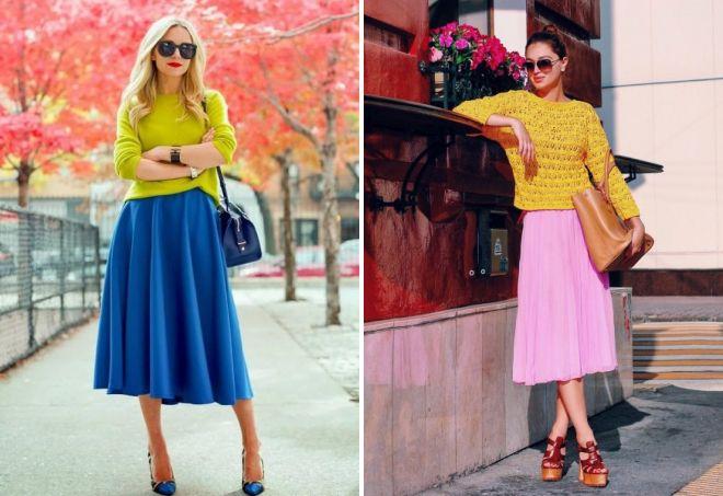 желтый свитер и юбка