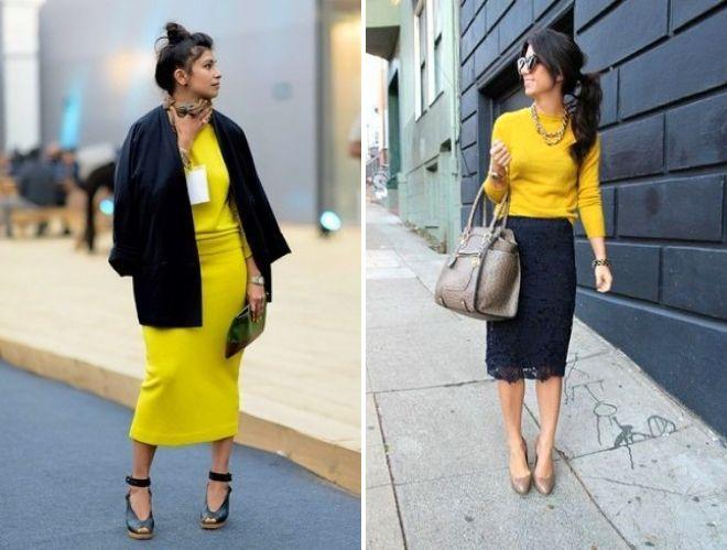 с чем носить желтый вязаный свитер