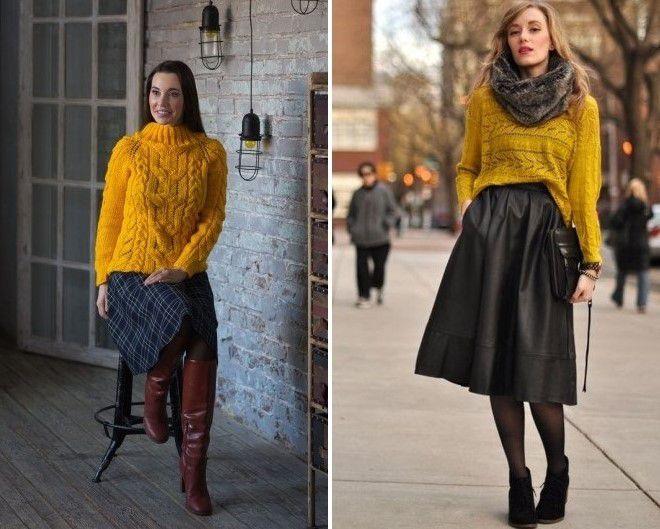 с чем носить желтый вязаный свитер 2017