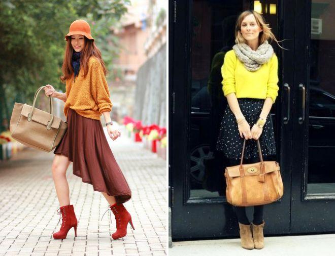 желтый свитер и легкая юбка
