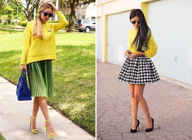 желтый свитер и юбка винтаж