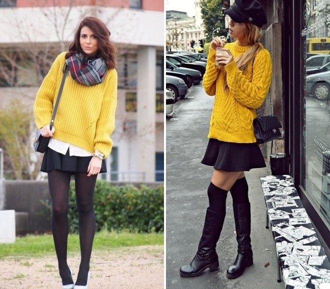 желтый свитер и черная мини-юбка