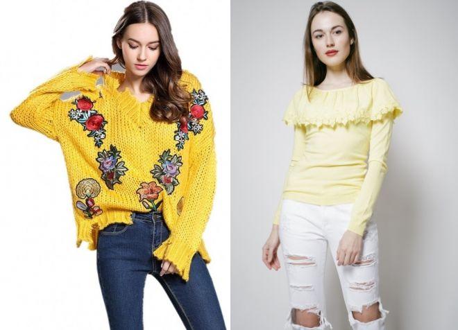 модный желтый свитер 2017