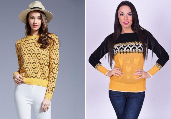 женский желтый свитер 2017