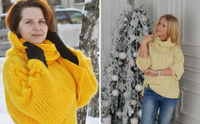 желтый свитер с воротником снудом