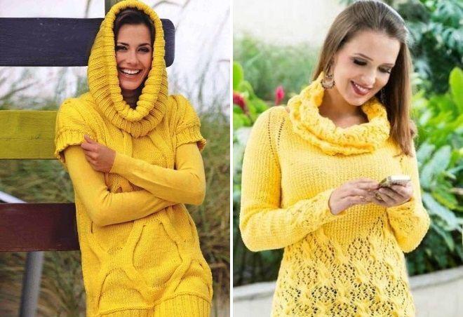 желтый вязаный свитер