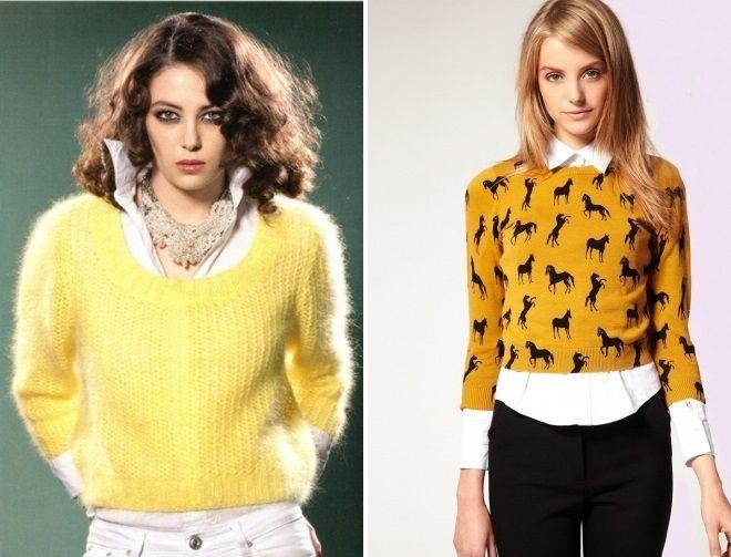 короткий желтый свитер
