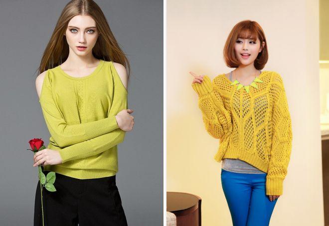 короткий желтый свитер 2017