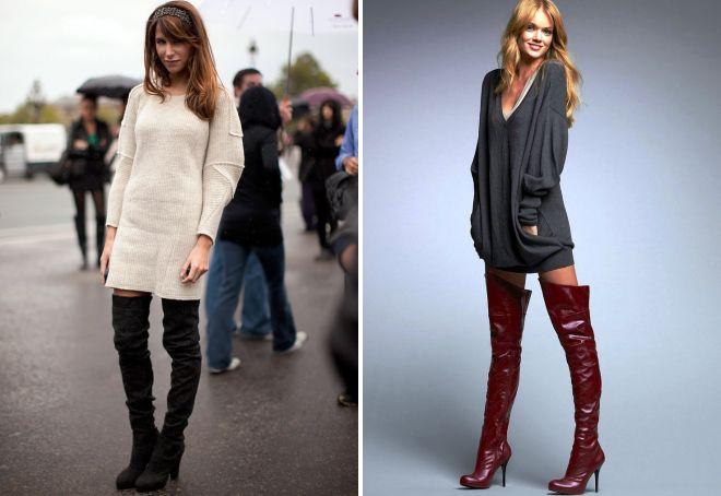 длинный свитер и ботфорты